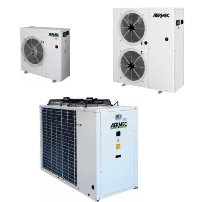 Холодильные машины с воздушным охлаждением, тепловые насосы и компрессорно-конденсаторные агрегаты от 2,2 до 148 кВт